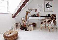 Ikea 'Besta/Burs' desk styled with natural materials