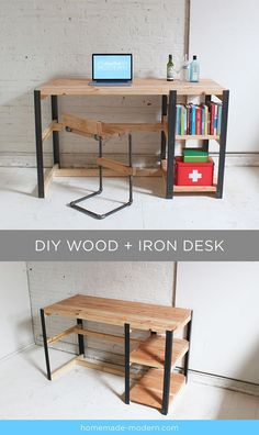 Full instructions for the DIY wood + iron desk are exclusively in the HomeMade Modern Book by Ben Uyeda. For a sneak peek of some of the projects, check out http://HomeMade-Modern.com.