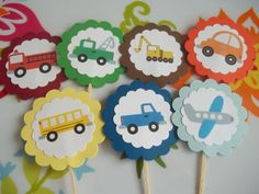 Cupcake toppers for transportation party decoration idea♥