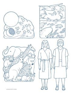 Lesson 8 - Sunday is a day to Remember Heavenly Father and Jesus Christ - The Creation coloring page - retell creation story and talk about Day 7 the Sabbath