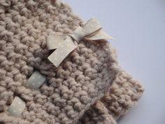 "Chunky Handmade Crochet Baby Blanket in Soft Beige 24"" x 22"""