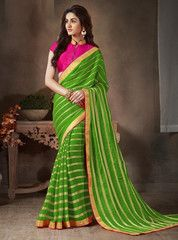 Green Color Georgette Festival & Function Wear Sarees : Sanjukta Collection YF-37335