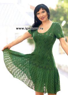 Calados vestido verde con mangas cortas. Radios