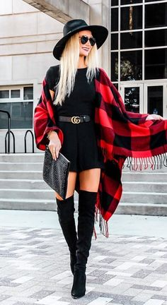 #fall #outfits black and red plaid scarf. Click To Shop This Look.