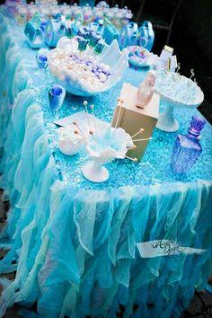 Mermaid Sequin Ruffle Sash Table Skirt Cover