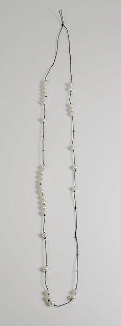 Susanne Hjorth Joneid (MA) - Norway, Oslo, Kunsthøgskolen -  FUCK OFF ASSHOLES (MORSE CODE) (!!!!) - A Tribute to Martin Creed, 2012  necklace, pearls, bead cord