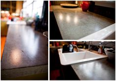 concrete-countertops - I LOVE this look, I think Chris and I could easily handle this project, and it would make the kitchen remodel 1/2 the cost...or less.  seriously, solid surface countertops of any kind are ridiculously expensive!