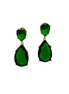 Kenneth jay lane's gröna Angie örhängen - guld