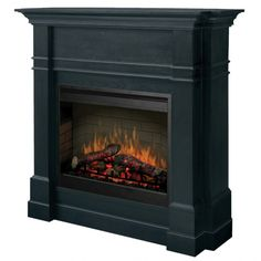 A Slim & Tall Flat-Wall Electric Fireplace with a Historic Look & Antique Feel