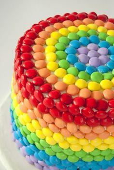Rainbow M&M's Cake