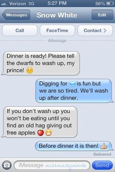 Snow White and the Seven Dwarves | 10 Texts From Disney Princesses To Their Princes