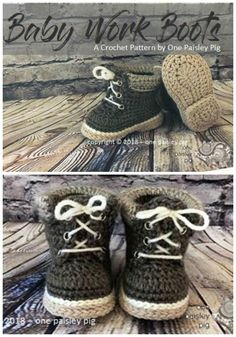 of Baby Booties How fun are these Baby Work Boots? I love the heel detail!How fun are these Baby Work Boots? I love the heel detail! Baby Booties Knitting Pattern, Crochet Baby Booties, Crochet Slippers, Baby Knitting, Baby Slippers, Handmade Baby Gifts, Baby Boots, Baby Sweaters, New Baby Products