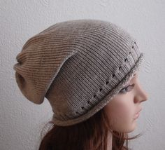 Womens Hat Knit Slouch Beanie Handmade Slouchy Hat by kristine1986