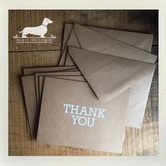 CLEARANCE Thank You. Note Cards Set of 5  by PickleDogDesign