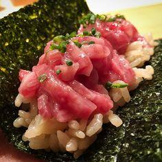 "tokyo29report 肉割烹 上 「上」の牛トロたく手巻き!たくわんの食感が特徴的です! A newly opened restaurant, ""Jyo"", offers authentic Wagyu × Japanese cuisines ! #上 #西麻布 #肉割烹 #焼肉 #ステーキ #肉 #和牛 #牛 #東京肉レポート #肉レポ #jyo #nishiazabu #yakiniku #wagyu #beef #steak #instafood #food #foodie #yummy #bbq #barbecue #tokyo #tokyo29report"