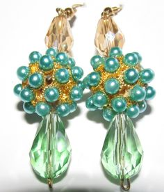 Gold Crystal and Mint Blue Crystal Earrings Crystal Earrings, Drop Earrings, Mint Blue, Blue Crystals, Pearls, Gold, Stuff To Buy, Jewelry, Design