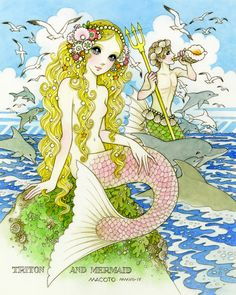 "triton and the mermaid...please visit our FB page ""The world of Macoto Takahashi""and like it♡..lots more pics coming soon"
