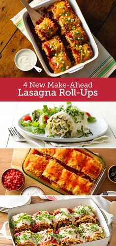It's lasagna to the rescue when you have these easy make-ahead roll-ups stockpiled in the freezer. Each recipe takes less than an hour to prepare, and the rolls keep in the freezer up to three months. Which one of Betty's unique lasagna flavors Make Ahead Lasagna, Meatless Lasagna, Make Ahead Meals, Italian Pasta Recipes, Italian Appetizers, Yummy Pasta Recipes, Best Lasagna Recipe, Slow Cooker Pasta