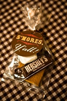 If we have a fire at the reception, use Smores for a gift/favor. Will need a crate or bucket of marshmello sticks to pass out at reception to make smores.
