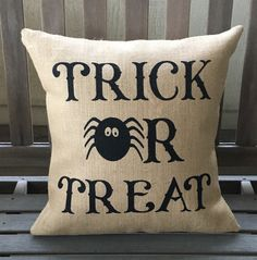 Trick or Treat Burlap Halloween Pillow - SHIPS WITHIN 3 DAYS!