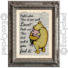 """Winnie the Pooh and Piglet Quote 5 on Vintage Upcycled Dictionary Page Book Art Print """"How do you spell love"""""""