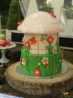Adorable cake at a woodland fairy birthday party!  See more party ideas at CatchMyParty.com!