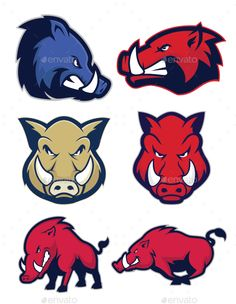 Clipart picture of wild hog or boar cartoon mascot logo character. Fully customizable in AI and EPS, Also available in JPG and PNG