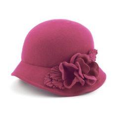V Shop Flowered Cloche Wool Hat