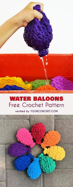 these eco friendly and reusable water balloons will be perfect for summer play or kids party. Lots of fun, birthday ideas #freecrochetpatterns #summerfun #birthdayparty
