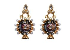 black antique traditional  crystal earring