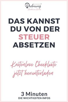 Steuer Checkliste kostenlos herunterladen - Finance tips, saving money, budgeting planner Get Instagram Followers, Money From Home, Finance Tips, Money Tips, Good To Know, Social Media Marketing, Saving Money, Budgeting, Life Hacks