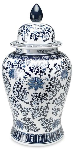 One Kings Lane 24 Floral Ginger Jar - Blue/White Glazes For Pottery, Ceramic Pottery, Ceramic Art, Porcelain Vase, White Porcelain, Talavera Pottery, Christmas Candle Holders, Blue And White Vase, Blue Pottery