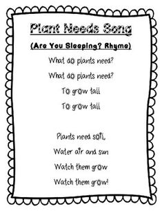 a cute little rhyme to help students memorize what plants need to stay allive. Kindergarten Songs, Preschool Music, Preschool Lessons, Preschool Classroom, Preschool Learning, Teaching Science, Preschool Activities, Therapy Activities, Songs For Toddlers