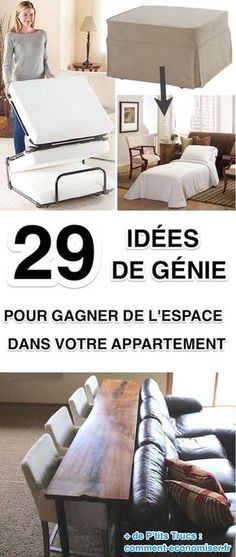 29 Genius Ideas To Save Space In Your Apartment. Small Apartments, Small Spaces, Hidden Spaces, Home Organisation, Diy Room Decor, Home Decor, Home Staging, Home Interior, Space Saving