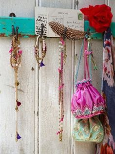 rustic hook rail ~ <3 all the colors