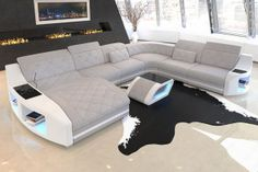 Fabric Sectional Sofa Palm Beach XL Designer Couch with LED Lights - White Sofa - Ideas of White Sofa - Fabric Sectional Sofa Palm Beach XL Designer Couch with LED Lights Price : Leather Coffee Table, Leather Sofa, Sofa Design, Söderhamn Sofa, Moderne Couch, Designer Couch, Home Cinema Room, Architectural House Plans, Beige Sofa