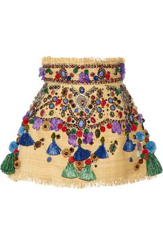 Dolce & GabbanaAppliquéd woven straw mini skirt