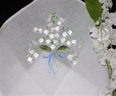 BLUE for BRIDE Embroidered Lily of the Valley Hankie Handkerchief Pristine $10.99