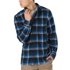 Hemd Vans - Vans X Anti Hero Wired Flannel True Blue/Black (tbb) VansVans Striped Shirt Dress, Belted Shirt Dress, Tee Dress, Striped Tee, Shirt Outfit, Tom Tailor Denim, Flannel Shirt, Shirt Shop, Slim Fit