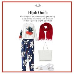 Can't wait to wear print on print like this tips! Thanks Alca Indonesia. Ootd Hijab, Hijab Chic, Hijab Outfit, Hijab Fashion, Fashion Outfits, Womens Fashion, Moslem Fashion, Pattern Fashion, View Photos