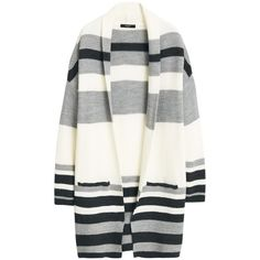 Mango Striped Cardigan, Light Beige ($59) ❤ liked on Polyvore featuring tops, cardigans, jackets, outerwear, coats, sweaters, beige cardigan, long sleeve tops, white cardigan and white drape cardigan
