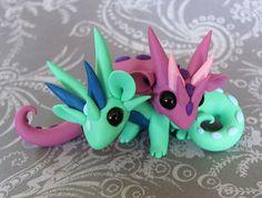 Playful Scrap Dragons by DragonsAndBeasties on Etsy