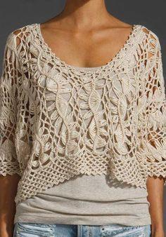 Crochet blouse ♪ ♪ ... http://anapicasa04.blogspot.com.ar/2014/02/blusas-croche-de-grampo.html