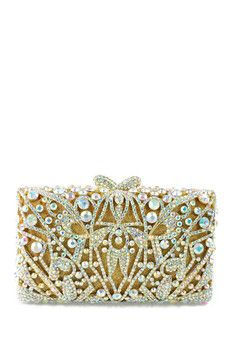 the Nude Face Large Iridescent Gold Clutch