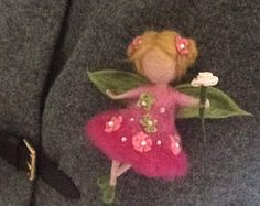 Items similar to Needle felted brooch Waldorf inspired Needle felted fairy Brooch Wool Flower Fairy Pink angel Angel Art doll Gift Doll miniature on Etsy Needle Felted, Wet Felting, Felt Angel, Wool Dolls, Felt Fairy, Felt Brooch, Brooch Pin, Little Doll, Fairy Dolls