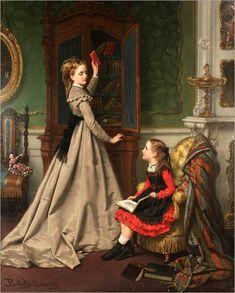 little girl reading, JAN FREDERIK PIETER PORTIELJE