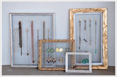 DIY jewelry organizer. Love this for necklaces of varying lengths. Also like the overlapping of the frames for visual interest.