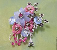 """Брошь """"Весна в Париже"""" - авторское украшение,Украшение ручной работы,листья"""