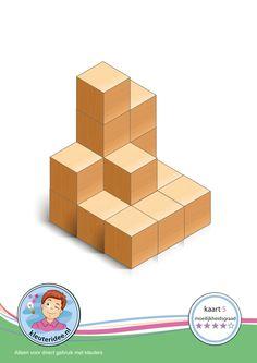 Bouwkaart 5 moeilijkheidsgraad 4 voor kleuters, kleuteridee, Preschool card building blocks with toddlers 5, difficulty 4, free printable.
