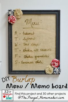 Burlap dry erase board - would work for any list